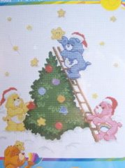Care Bears Decorating The Christmas Tree Cross Stitch Kit New
