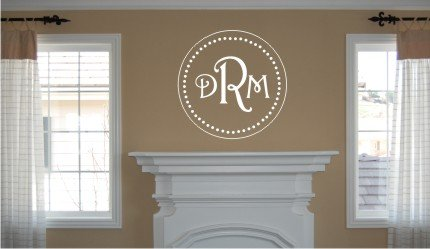 Vinyl Wall Decal Art - Circle Monogram with Initials