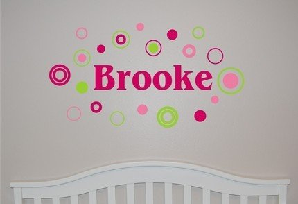 Girl Name with Circles and Dots - Vinyl Wall Decal