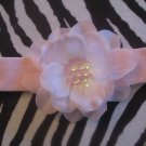 Gracie - Pink cotton headband with pink sequin center flower