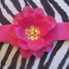 Isabella - Hot Pink cotton headband with Hot pink sequin center flower