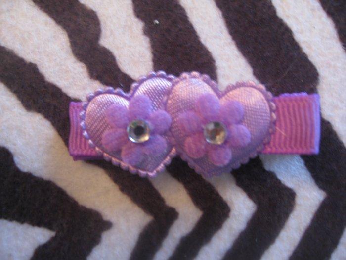 Double Heart Alligator clip - Lavender