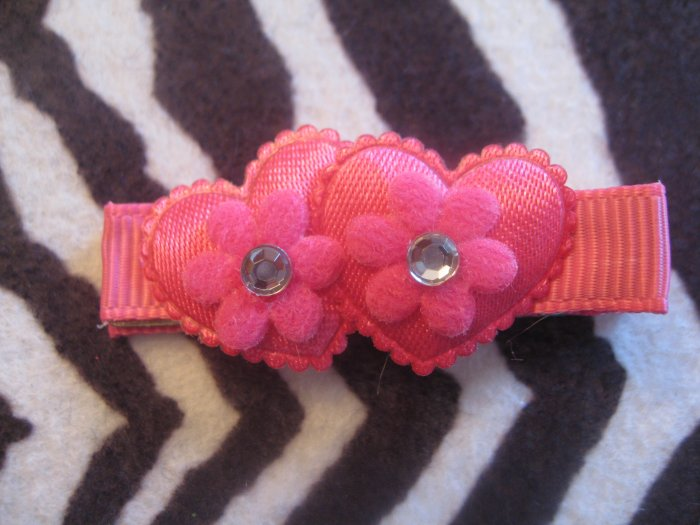Double Heart Alligator clip - Hot pink