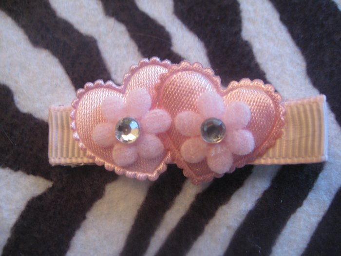 Double Heart Alligator clip - pink