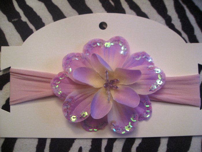Anna  - Lavender nylon Headbands with lavender sequin trimmed flower