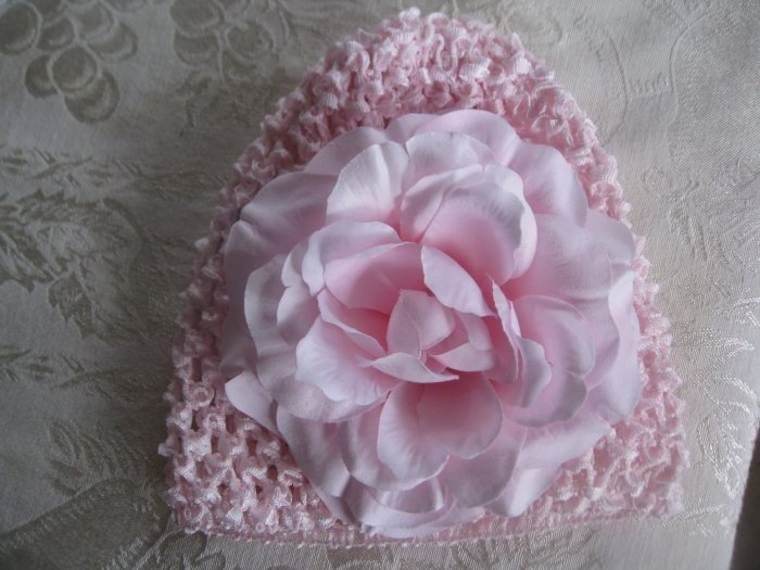 Infant beanie waffle hat - pink with pink rose