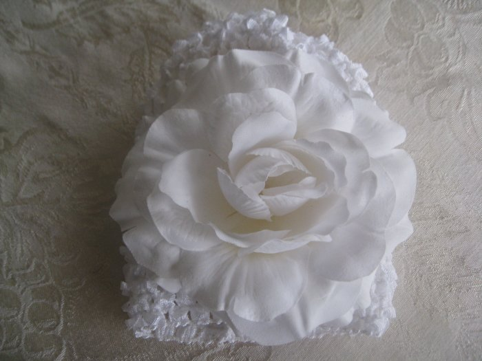 Infant beanie waffle hat - white with white rose