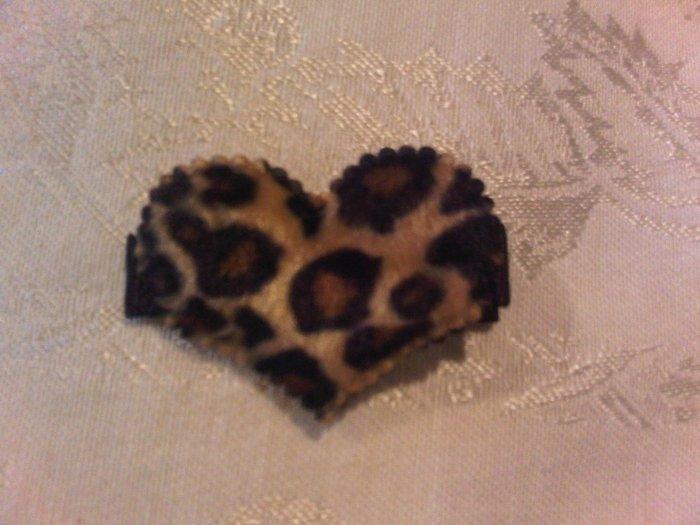 Leopard Furry Heart Hair Clip
