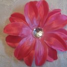 5 inch Flower on  Alligator clip - Hot Pink