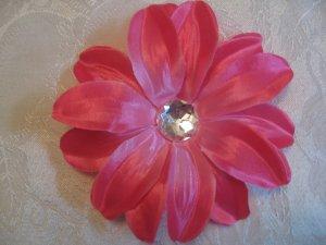 5 inch Flower on  Alligator clip - Hot Pink