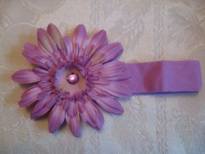 Cotton headband with matching gerber daisy - lavender