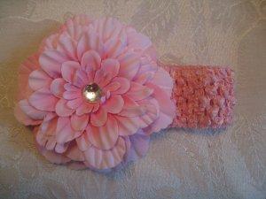 Crochet headband with matching dahlia daisy - light pink