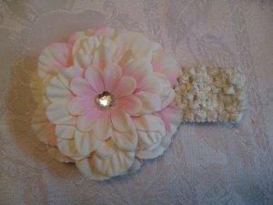 Crochet headband with matching dahlia daisy - ivory