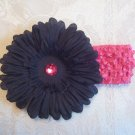 Hot Pink Crochet headband with black gerber daisy