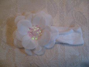 Nylon Headbands with matching sequin center flower - White