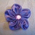 2.5  inch satin flower with gem center - PURPLE