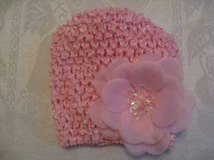 Infant beanie waffle hat - light pink