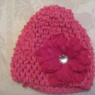 Infant beanie waffle hat - hot pink