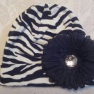 Toddler Zebra cotton beanie with black  flower