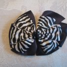 Two layer satin bow alligator clip - zebra