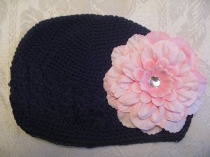 Black Kufi hat with pink flower