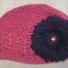 Hot pink Kufi hat with black flower