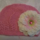 Pink Kufi hat with ivory flower