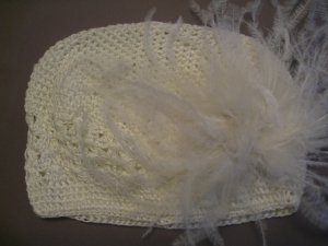 Ivory Kufi hat with ivory ostrich fur clip