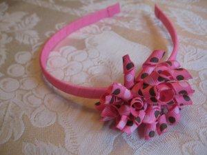 Hard Korker Headband - brown and pink polka dots