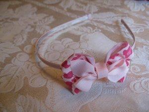 Hard Bow Headband -  pink and hot pink cheetah