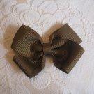 Handmade Bow Alligator Clip - Brown