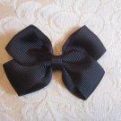 Handmade Bow Alligator Clip - black