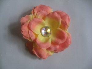 3 inch small rose Hair Clip - Peach
