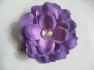 3 inch small rose Hair Clip - Purple