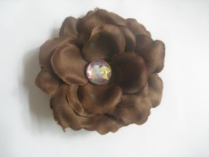 3 inch small rose Hair Clip - Brown
