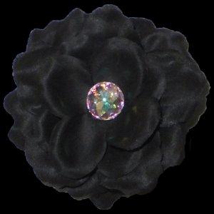 3 inch small rose Hair Clip - Black
