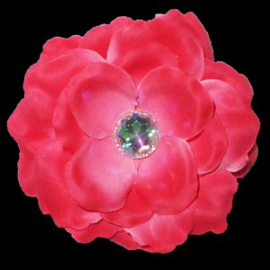 3 inch small rose Hair Clip - Hot pink
