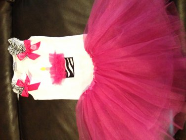 Birthday tank with matching tutu - hot pink small