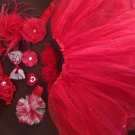 Red Sparkel tutu with you pick hair accessory