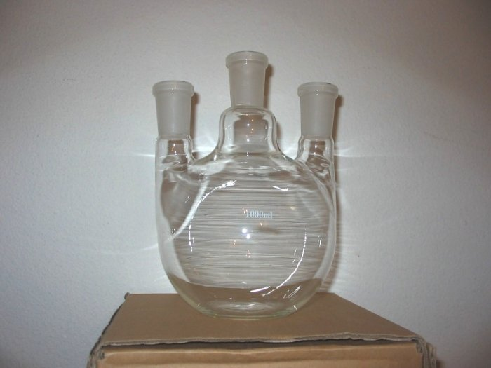 3-neck flat bottom boiling flask: 24/40 1000ml