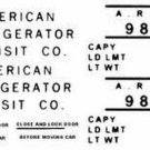 988 A.R.T. REEFER CAR ADHESIVE STICKER for American Flyer S Gauge Scale Trains
