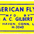 YELLOW ACCESSORY LABEL for for FLYERVILLE MINI-CRAFT AMERICAN FLYER