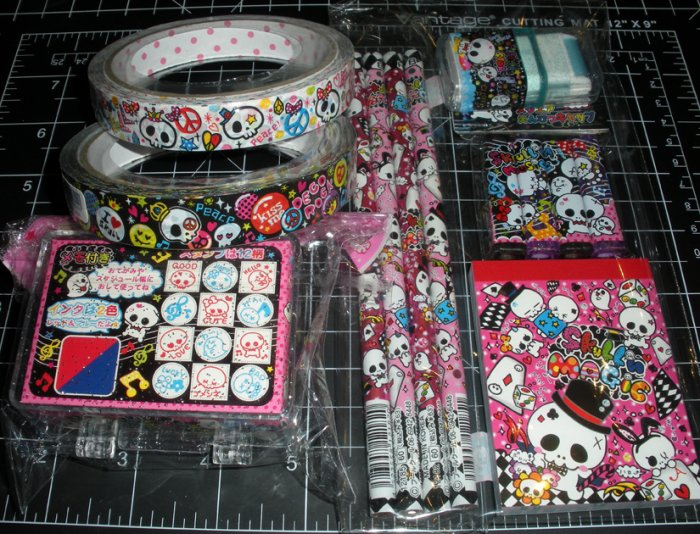 Kawaii Skull Set (Deco Tape, Pencils, Stamps, Notepad)