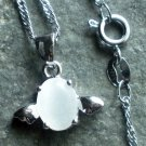 925 Sterling Silver White Opal Angel Egg Pendant Necklace
