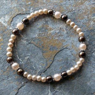 "[001] Elastic Brown and Smokey 7"" Glass Pearl Bracelet"