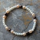 """[002] Elastic Brown and Pink 7"""" Glass Pearl Bracelet"""