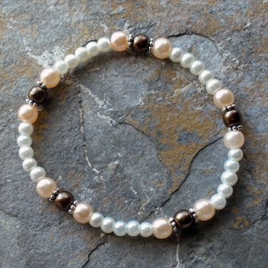 "[002] Elastic Brown and Pink 7"" Glass Pearl Bracelet"