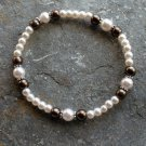 """[004] Elastic Brown and Pink 7"""" Glass Pearl Bracelet"""