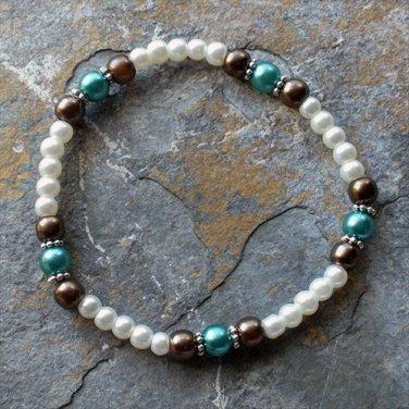 "[005] Elastic Brown and Teal 7"" Glass Pearl Bracelet"