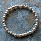 "[006] Elastic Coffee and Grey 7"" Glass Pearl Bracelet"